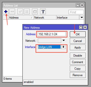 Đặt IP cho bridge mikrotik